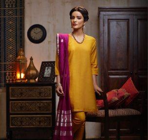 Fabindia - Yellow suit with hot pink silk dupatta - Meherchand market wedding shopping guide