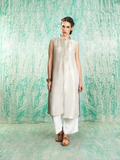 Manan - Silver kurta with white palazzos - Meherchand market wedding shopping guide
