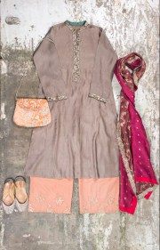 Shades of India - Pale purple kurta with hot pink dupatta and peach pants - Meherchand market wedding shopping guide