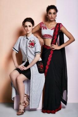 Black sari with red border   Black & white striped kurta with black skirt