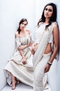 Ivory sari and dress