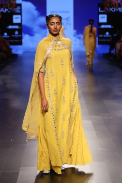 30 Candy yellow long kurta with gota patti embroidery | Anita Dongre Love Notes | Lakme Fashion Week 2016