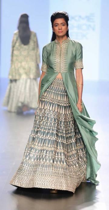 Jacket anarkali - SVA Couture - Green & gold jacket kurta with lehenga - Lakme Fashion Week Summer-Resort 2016