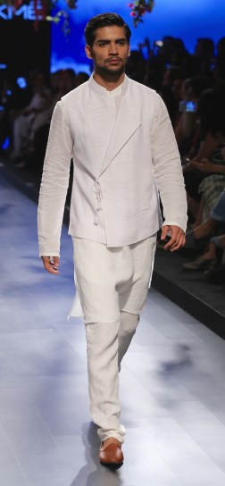 Menswear White achkan style jacket with kurta and pants | Anita Dongre Love Notes | Lakme Fashion Week 2016