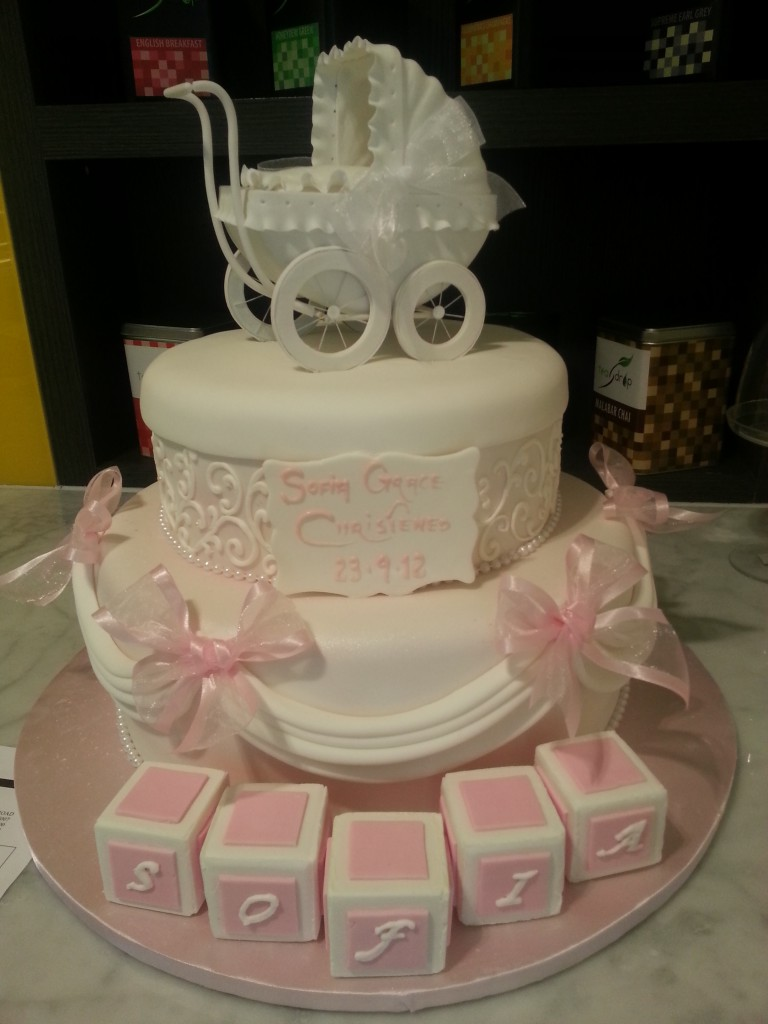 Two Tier Christening Cake