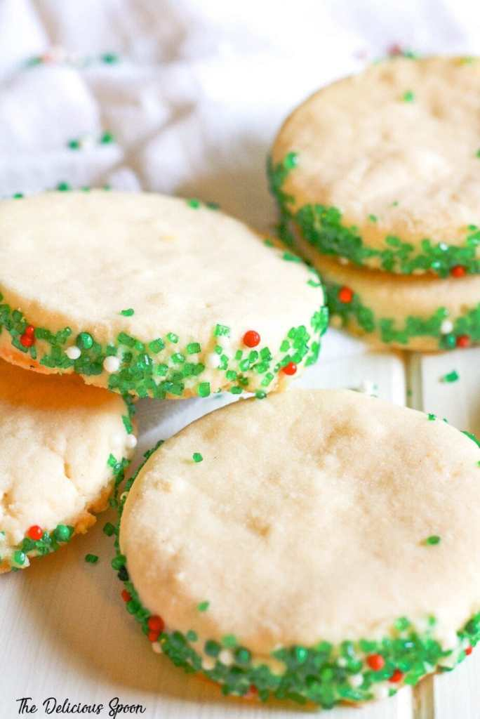 A tower of shortbread cookies with green sprinkles
