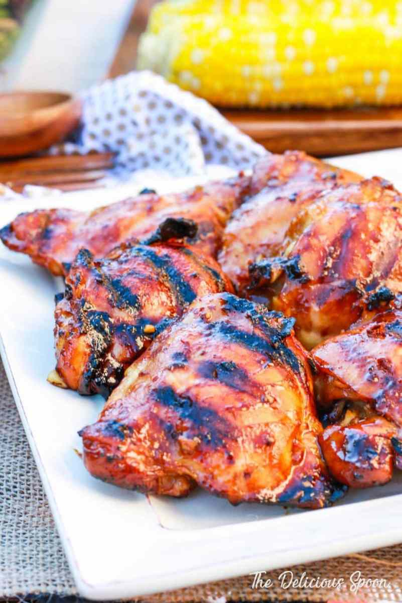Honey Sriracha Grilled Chicken Thighs