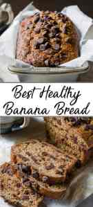 Pinterest pin showing healthy banana bread in a loaf pan and sliced