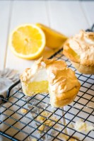 Mini lemon pie with with a piece cut out