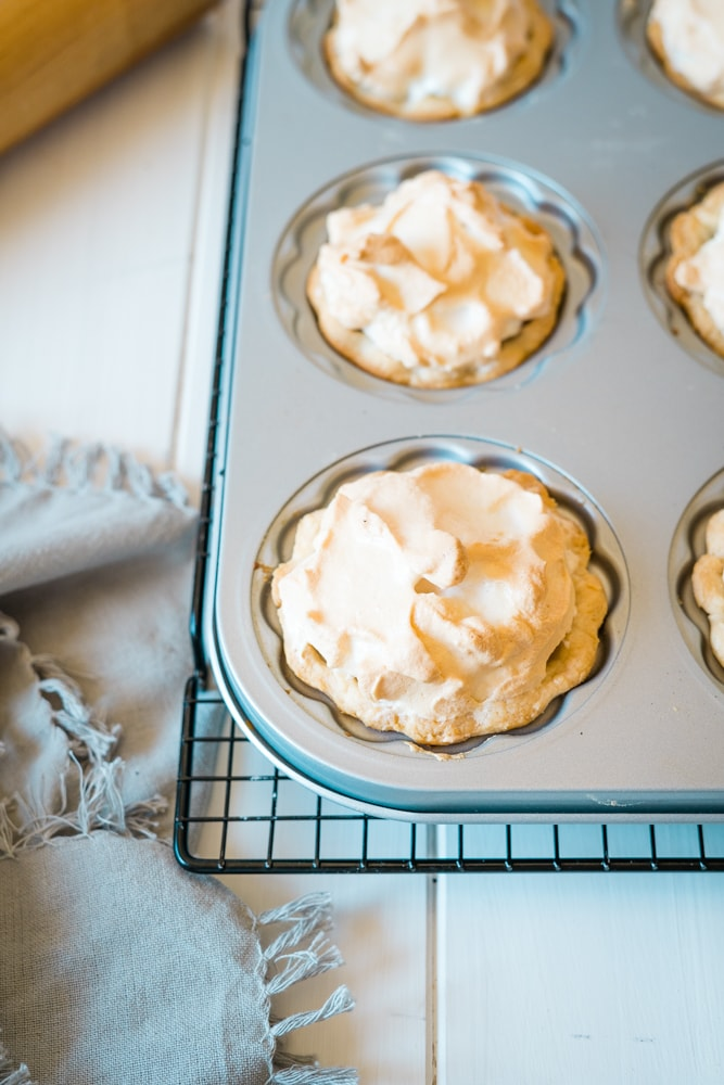 overhead shot of mini lemon meringue pie