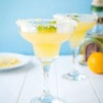 Two simple margaritas using the juice of Meyer Lemons in margarita glasses rimmed with salt, sugar and lemon zest.