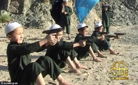 Muslim children praying.