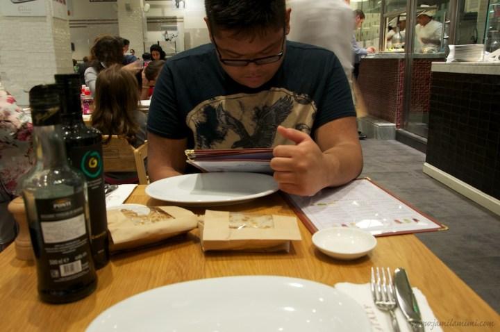 seriously choosing his dish
