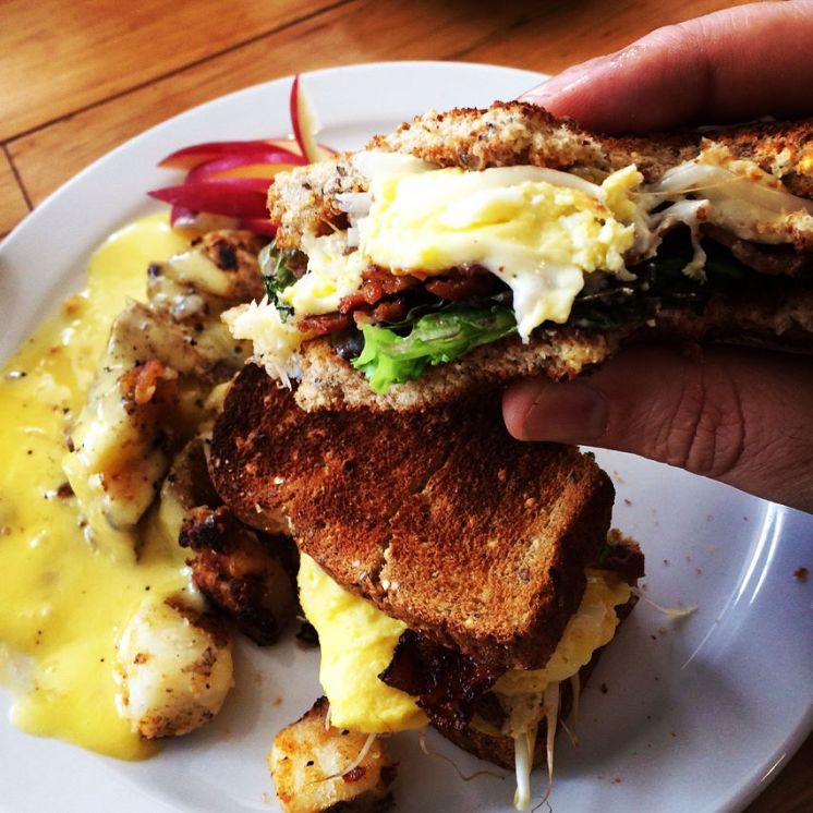 College | Breakfast Club with scrambled eggs, bacon, swiss & sprouts on toasted multigrain with mayo + home fries | 12