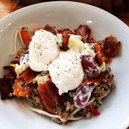 Havelock   Breakfast bowl with mango quinoa & waldorf salads, poached egg (GF)   13   add bacon bits +1.5