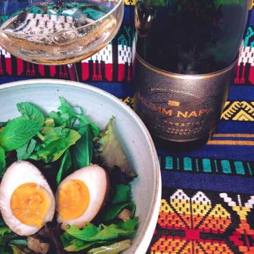 Mumm Napa Brut Prestige — California Tea stained egg with soft-herb salad and sparkling vinaigrette.