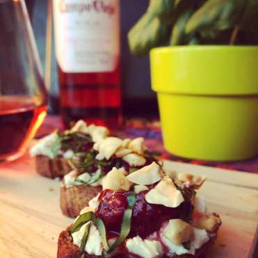Campo Viejo Tempranillo Rosé — Spain Goat cheese and basil crostini topped with strawberry-rosé compote and toasted hazelnuts.