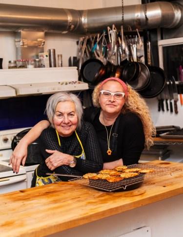 Alissa Kondogiannis & her mom preparing latkes