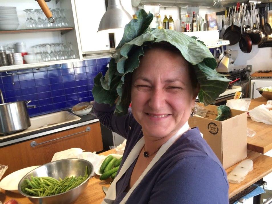 Margret Hefner, an expert in Mexican fruits & vegetables, goofing around.