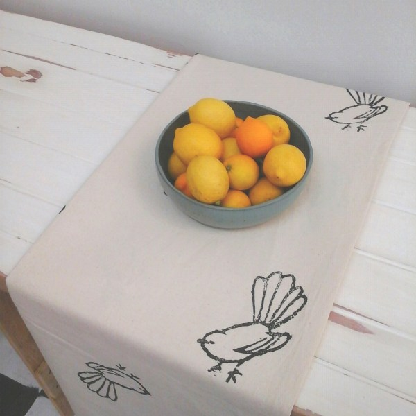 Block printed raw calico tablecloth by Coulter & Coulter