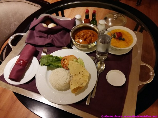 Room service - curry was good, creme brulee was wonderful