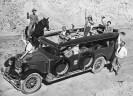 Al Riddle driving Union Pacific RR bus 1930 - Courtesy National Park Service, Death Valley National Park