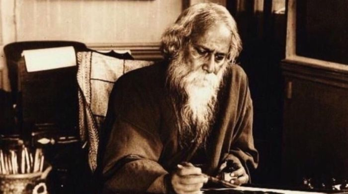 tagore writing a letter