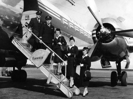 The first flight crew boarding on the London inauguration flight.