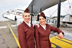 THE SHAMROCK IS 'FLYING HIGH' – AER LINGUS CELEBRATES 80TH ANNIVERSARY! Aer Lingus today celebrates 80 years of flying having launched its first ever flight from Baldonnel to Bristol on this day in 1936. To recognise this incredible milestone, Aer Lingus has flown the Iolar, a replica of the a six-seater De Havilland 84 Dragon which made that first journey with only five passengers, to Bristol once again, 80 years later. While its first aircraft might only have had the capacity to accommodate six passengers, the national airline now boasts a fleet of 62 aircraft and connects 12 million people from Ireland and across the world to more than 100 destinations throughout Europe and North America. Pictured with the Iolar at Bristol airport are Aer Lingus cabin crew Laura Mc Cabe (brunette) and Catherine McDonnell (blonde) who are both wearing the very first Aer Lingus uniform worn by cabin crew in 1945. Photo by Dan Regan 27/05/2016