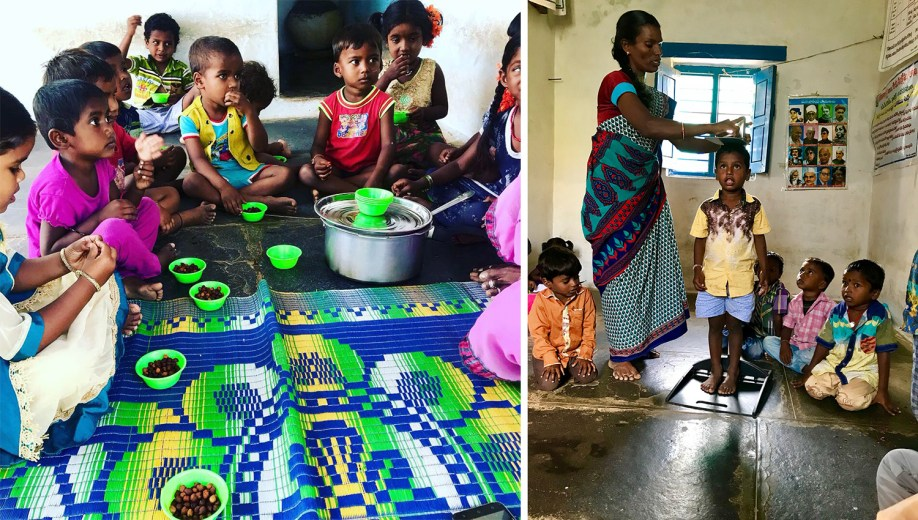 Nutrition program in Bondalawada Anganwadi – children receive one full meal and two snacks every day and are weighed and measured to combat malnutrition Source – Sarah Schoffel, 2018
