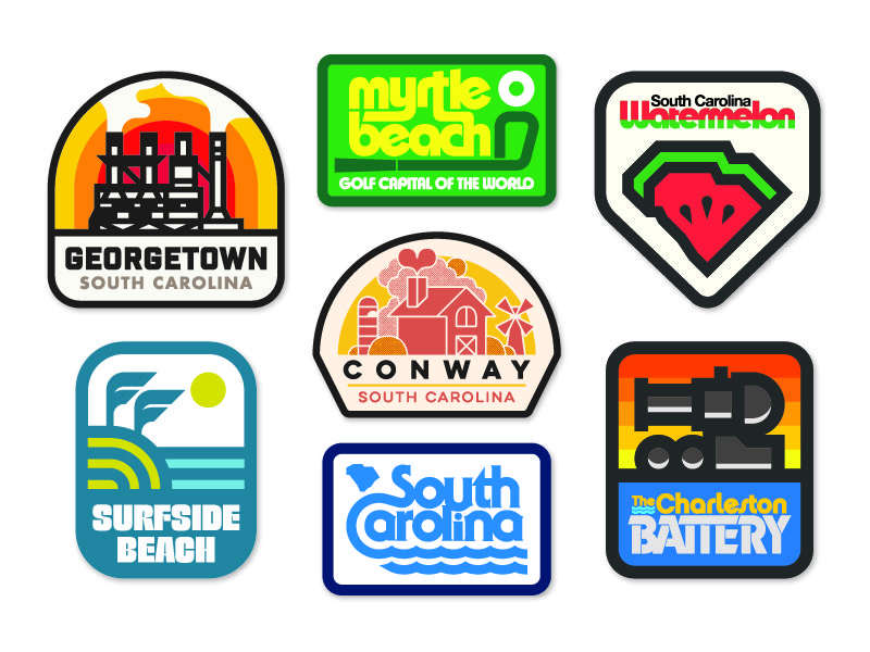 Collection of logos for the cities based in South Carolina