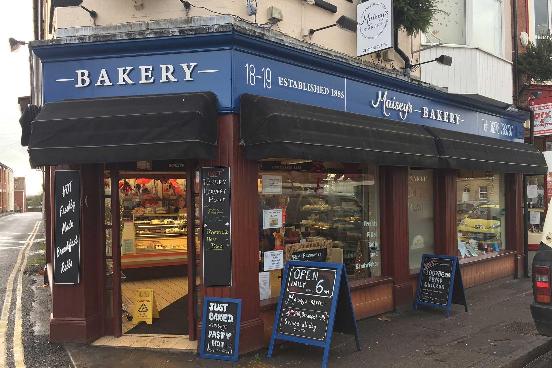 Maisey's Bakery shop signage design, Highbridge, Somerset