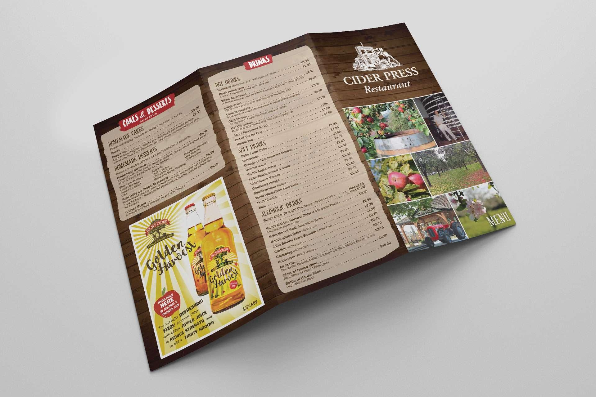 Rich's Cider Farm Menu Design