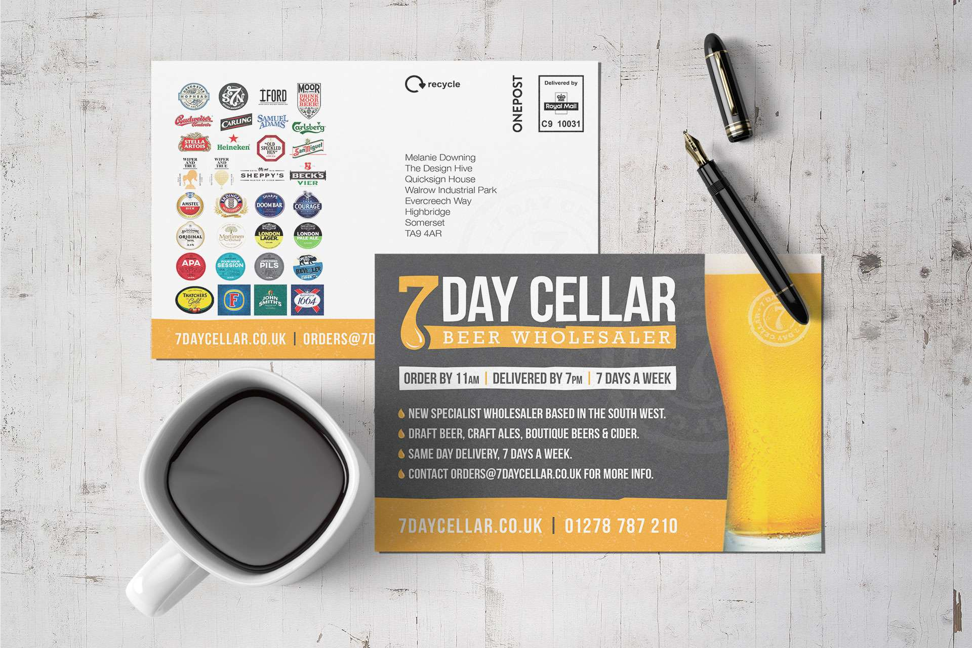 Branding 7 Day Cellar postcard design & printing, Somerset