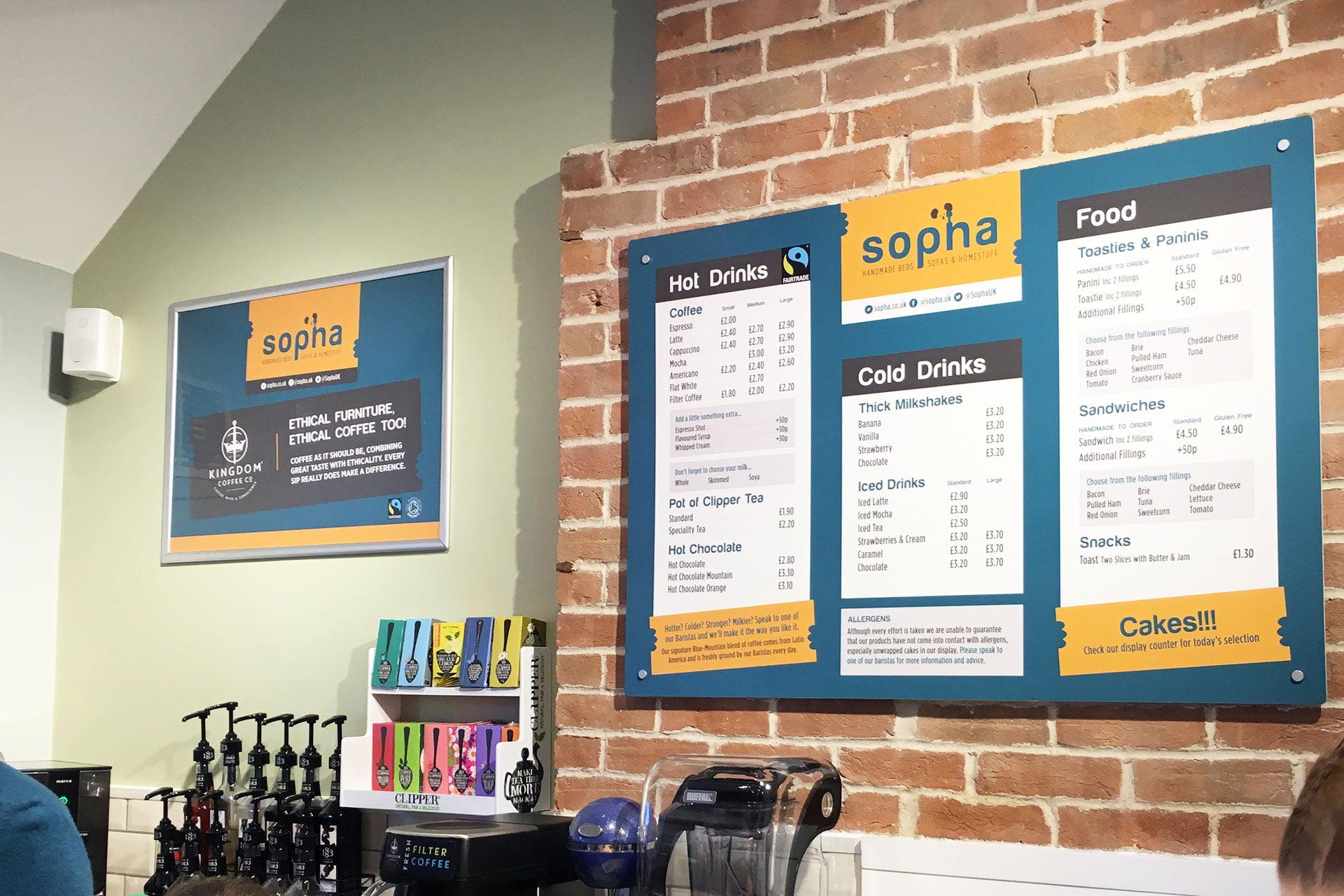 Sopha-furniture-retail-shop-menu-design-Highbridge-Somerset The Importance of Branding & Graphic Design in a Business