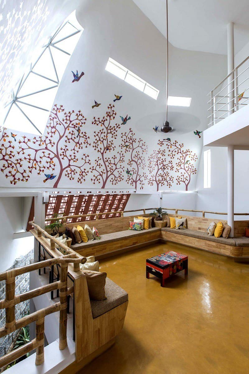 Interior that blends traditional Indian features and ...