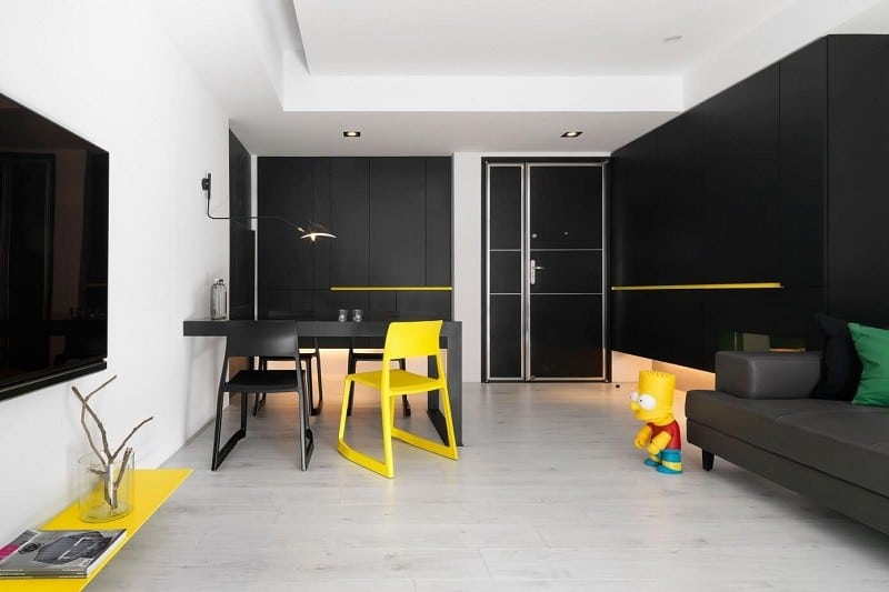 Minimalist Black-and-white Apartment With Yellow Accents