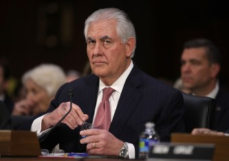 WASHINGTON, DC - JANUARY 11: Former ExxonMobil CEO Rex Tillerson, U.S. President-elect Donald Trump's nominee for Secretary of State, waits for the beginning of his confirmation hearing before the Senate Foreign Relations Committee January 11, 2017 on Capitol Hill in Washington, DC. Tillerson is expected to face tough questions regarding his ties with Russian President Vladimir Putin. (Photo by Alex Wong/Getty Images)