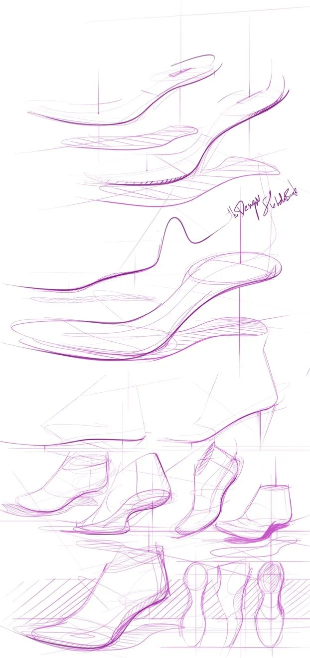 Drawing a shoe last illustration