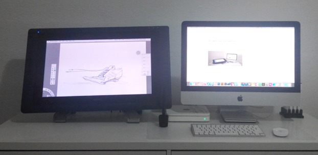 My desk with Wacom Cintiq 22 and iMac