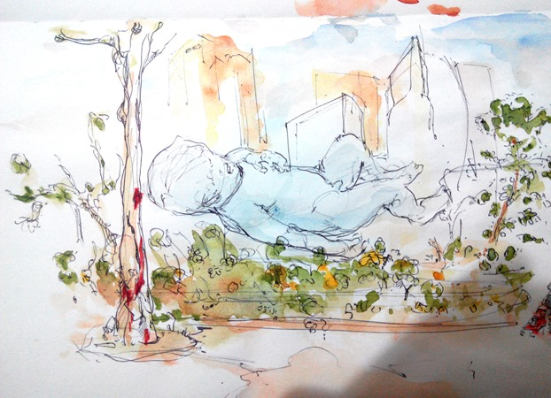 giant-floating-baby-singapore-marina-bay-sands-the-design-sketchbook-watercolour-v