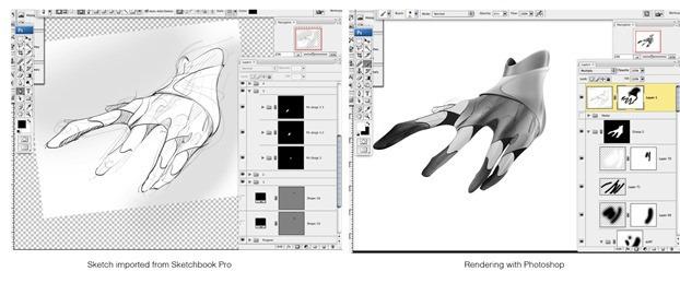 Hand-SketchbookPro-to-Photoshop