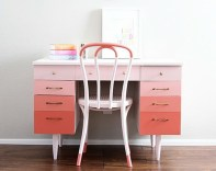Gorgeous Ombre Mid-Century Modern desk revamp by Natty by Design