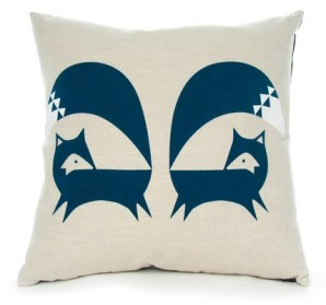 Fox Cushion via Howkapow | http://www.howkapow.com/fox-cushion-french-navy