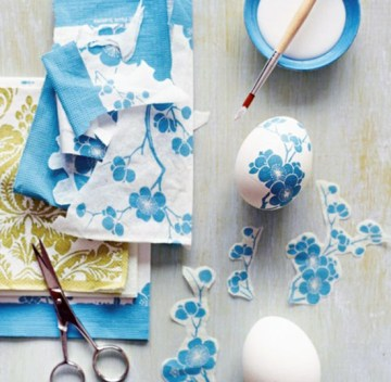 Decoupage Eggs | via http://dizzymaiden.tumblr.com/post/19288249566/diy-decoupage-eggs-for-easter-need-hard-boiled