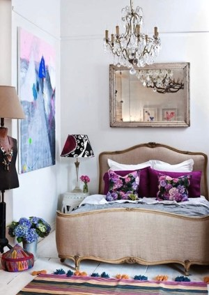 Love this bright and cheery boudoir furnished and styled by Lucy Fenton of Fenton & Fenton | via http://thedesignfiles.net/2010/12/interview-lucy-fenton/