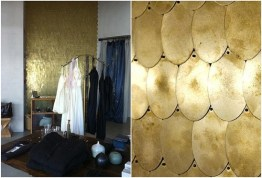 Check out this wall of a Erica Tanov store in California clad in brass scales! 100% awesome. | via http://ericatanov.com/ourstores.php