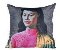 What about 50s retro kitsch with these Vladimir Tretchikoff cushions | via http://shop.vladimirtretchikoff.com/cushi