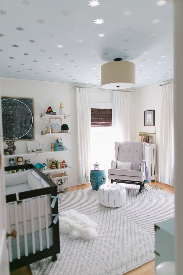 A patterned or painted ceiling would be a welcome unexpected idea if your nursery has a high ceiling and is otherwise understated! | via http://moms.popsugar.com/Modern-Serene-Baby-Boy-Nursery-31824282#photo-10