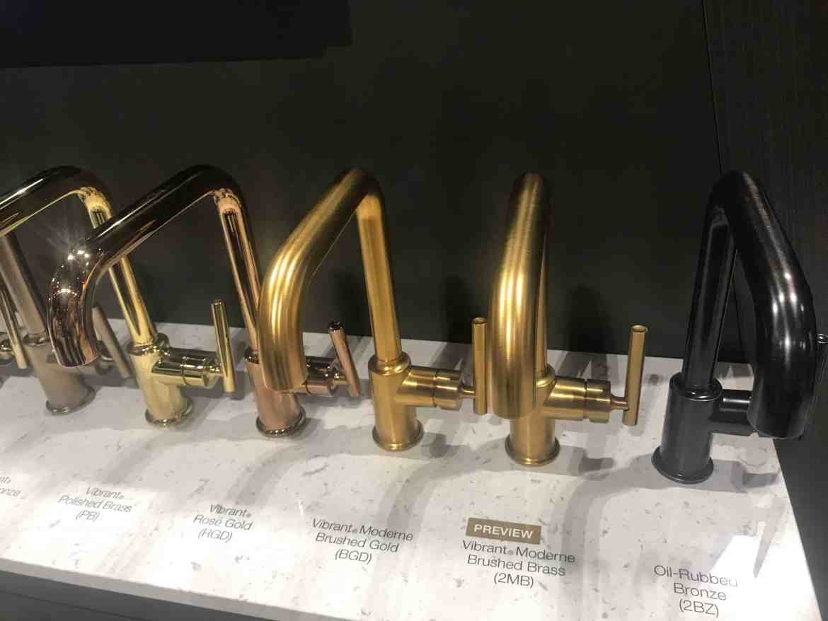 Rose Gold, Brushed Gold, Brushed Brass and Oil-Rubbed Bronze are among the trending mixed metals dictating the latest designs. These faucets are from Kohler.
